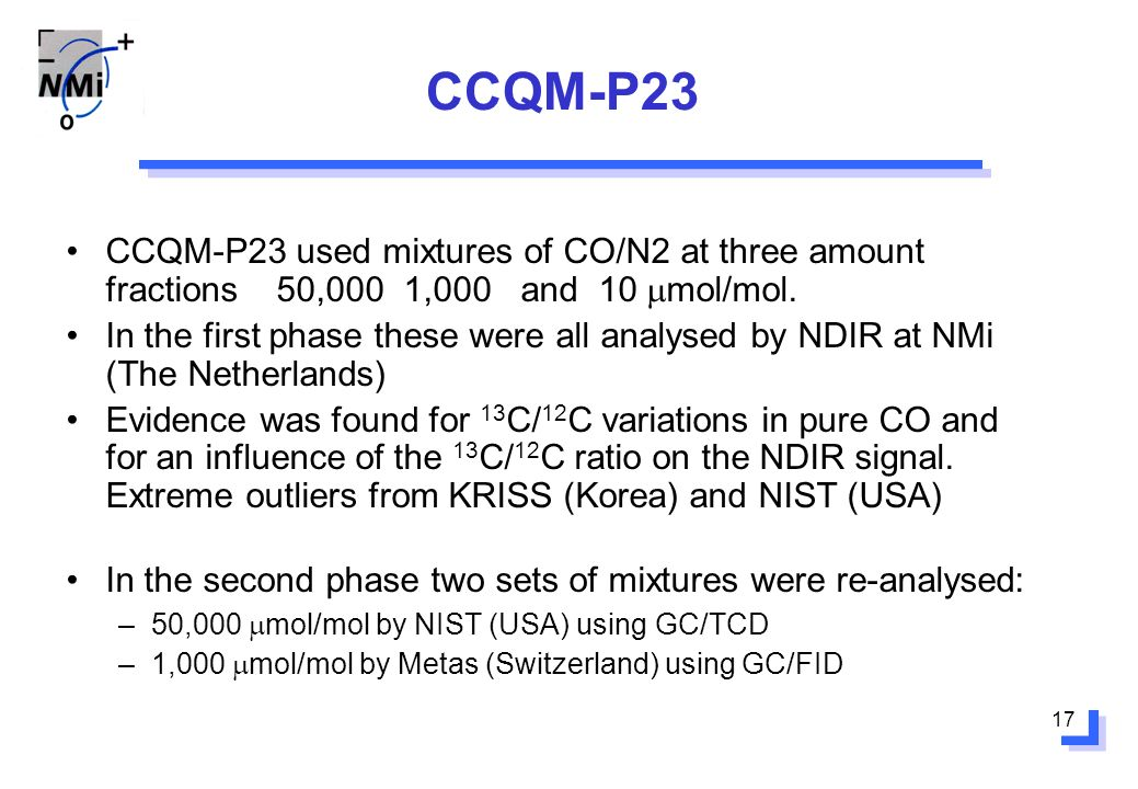 17 CCQM-P23 CCQM-P23 used mixtures of CO/N2 at three amount fractions 50,000 1,000 and 10 mol/mol.