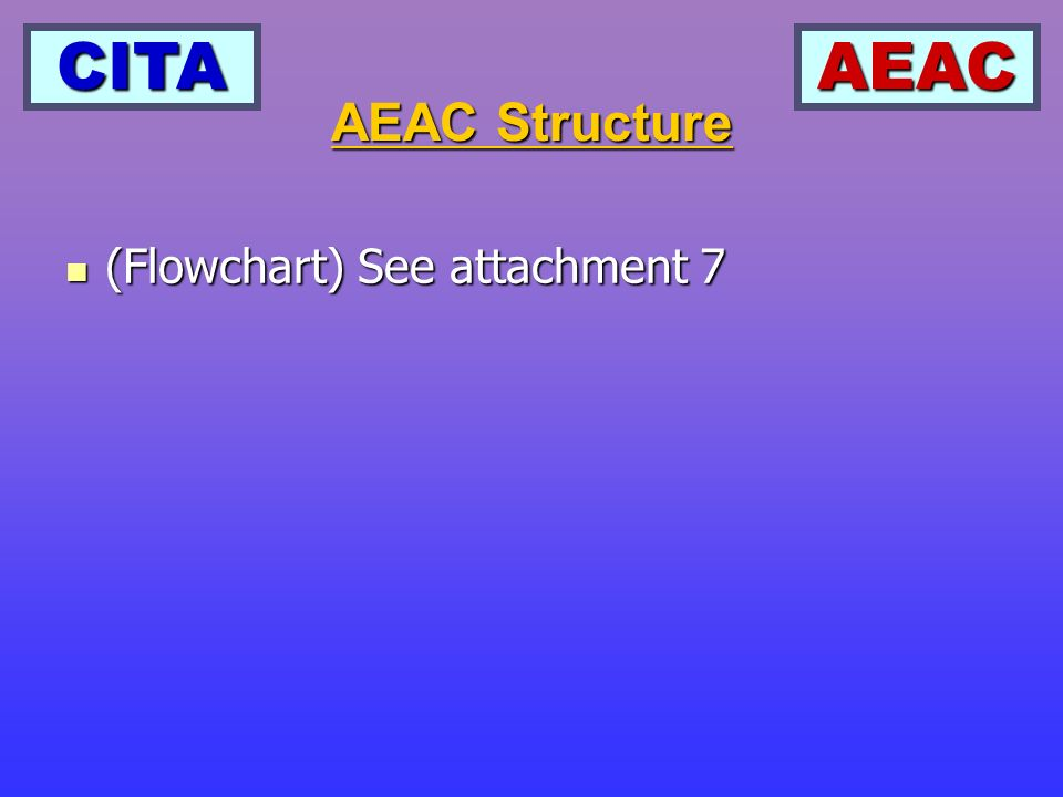 CITAAEAC (Flowchart) See attachment 7 (Flowchart) See attachment 7 AEAC Structure