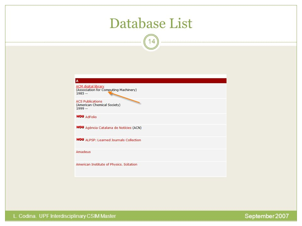 Database List September 2007 L. Codina. UPF Interdisciplinary CSIM Master 14