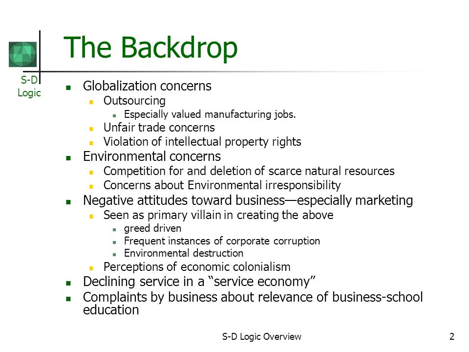 S-D Logic S-D Logic Overview2 The Backdrop Globalization concerns Outsourcing Especially valued manufacturing jobs.
