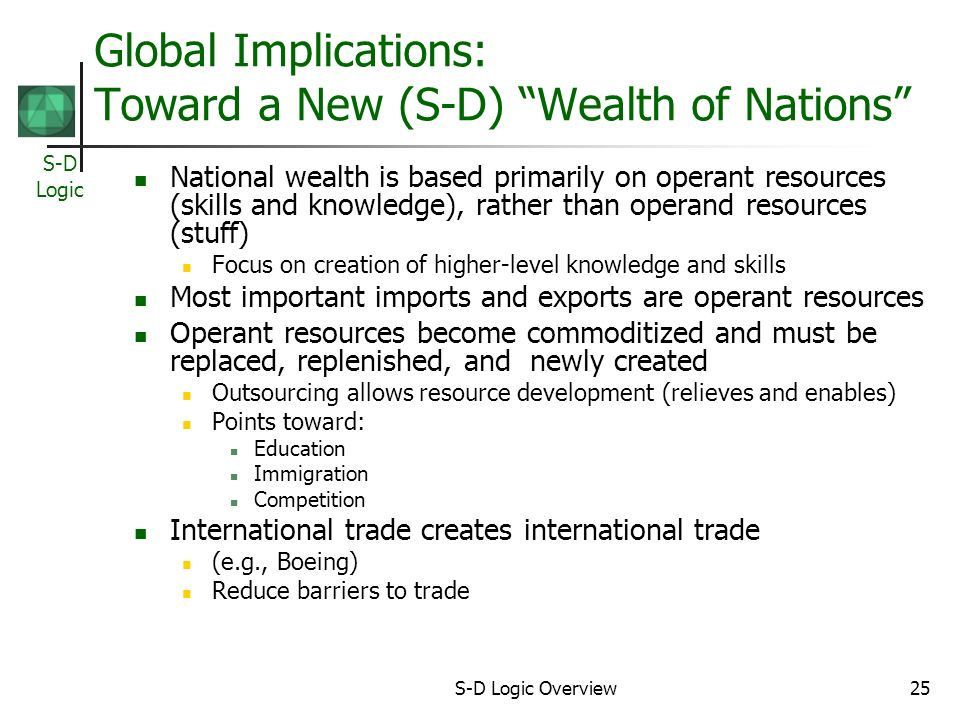 S-D Logic S-D Logic Overview25 Global Implications: Toward a New (S-D) Wealth of Nations National wealth is based primarily on operant resources (skills and knowledge), rather than operand resources (stuff) Focus on creation of higher-level knowledge and skills Most important imports and exports are operant resources Operant resources become commoditized and must be replaced, replenished, and newly created Outsourcing allows resource development (relieves and enables) Points toward: Education Immigration Competition International trade creates international trade (e.g., Boeing) Reduce barriers to trade
