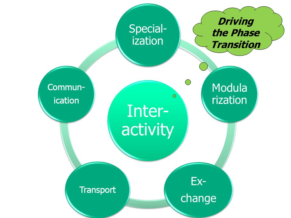 Inter- activity Special- ization Modula rization Ex- change Transport Commun- ication Driving the Phase Transition
