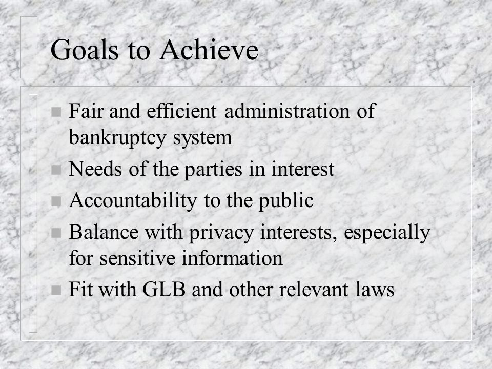 Goals to Achieve n Fair and efficient administration of bankruptcy system n Needs of the parties in interest n Accountability to the public n Balance with privacy interests, especially for sensitive information n Fit with GLB and other relevant laws