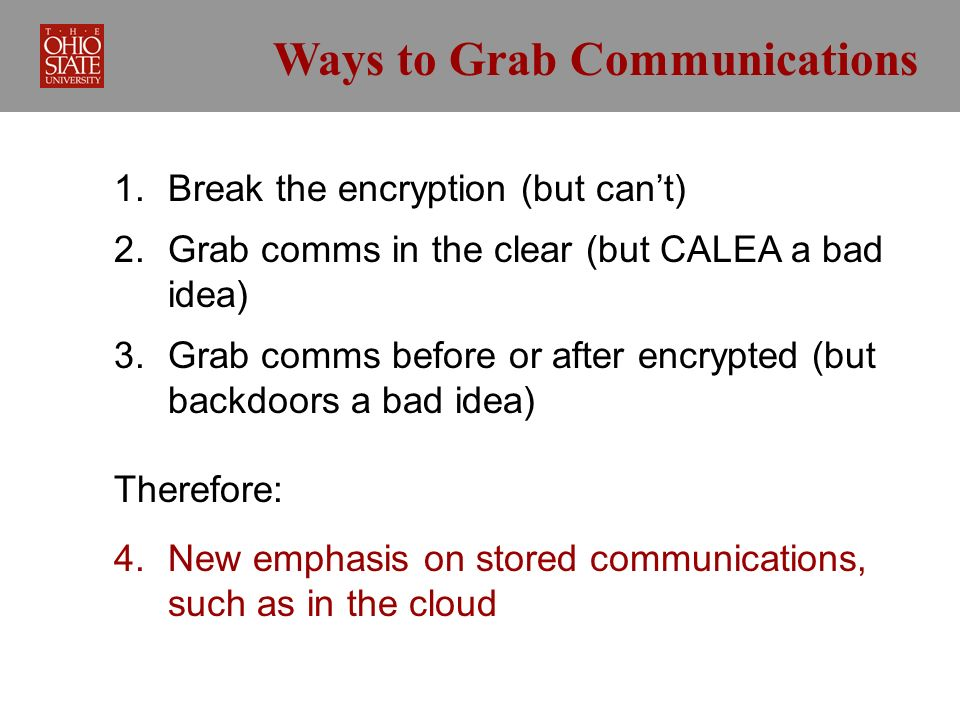 Ways to Grab Communications 1. Break the encryption (but cant) 2.