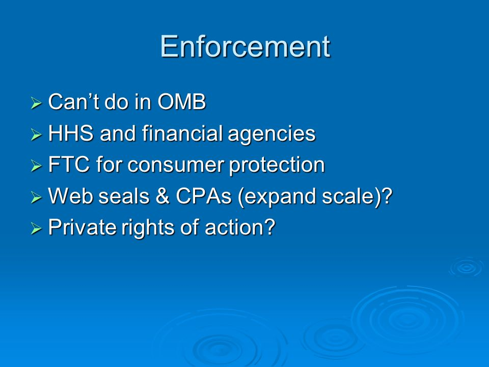 Enforcement Cant do in OMB Cant do in OMB HHS and financial agencies HHS and financial agencies FTC for consumer protection FTC for consumer protection Web seals & CPAs (expand scale).