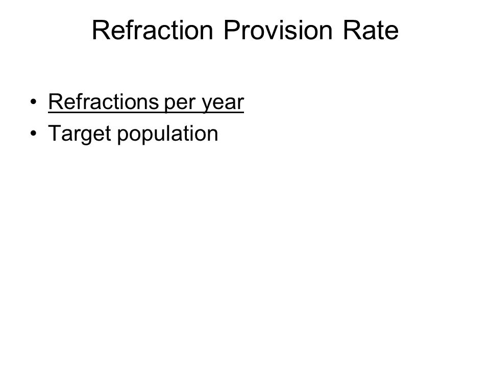 Refraction Provision Rate Refractions per year Target population