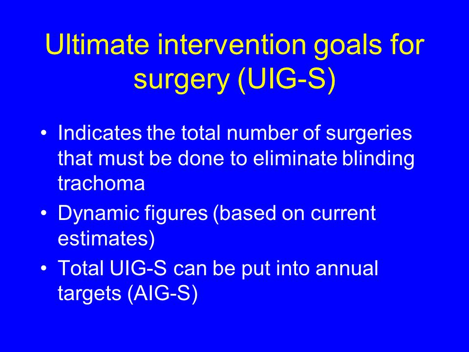 Ultimate intervention goals for surgery (UIG-S) Indicates the total number of surgeries that must be done to eliminate blinding trachoma Dynamic figures (based on current estimates) Total UIG-S can be put into annual targets (AIG-S)
