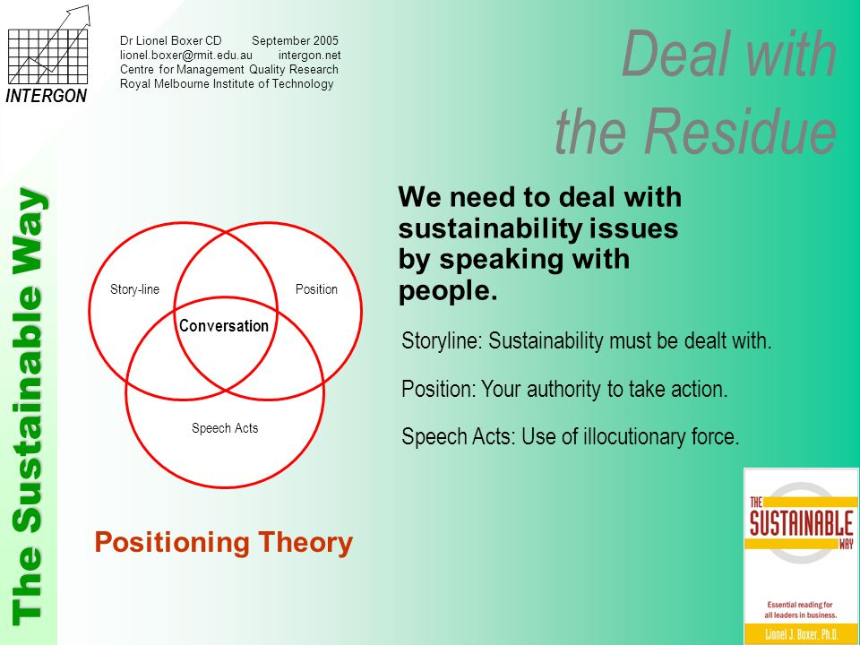 Deal with the Residue The Sustainable Way INTERGON Dr Lionel Boxer CD September 2005 lionel.boxer@rmit.edu.au intergon.net Centre for Management Quality Research Royal Melbourne Institute of Technology We need to deal with sustainability issues by speaking with people.
