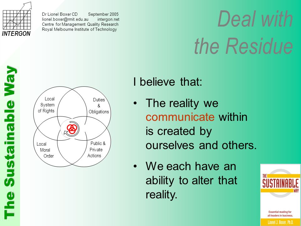 Deal with the Residue The Sustainable Way INTERGON Dr Lionel Boxer CD September 2005 lionel.boxer@rmit.edu.au intergon.net Centre for Management Quality Research Royal Melbourne Institute of Technology I believe that: The reality we communicate within is created by ourselves and others.