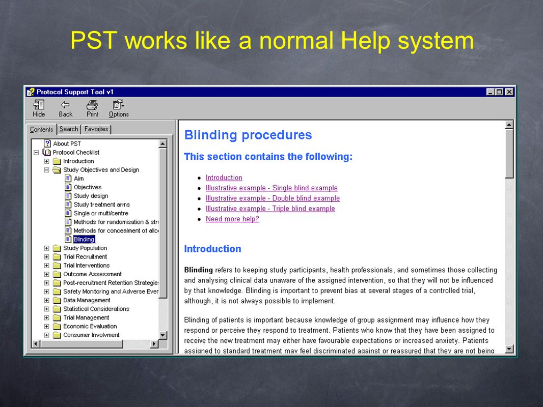 PST works like a normal Help system