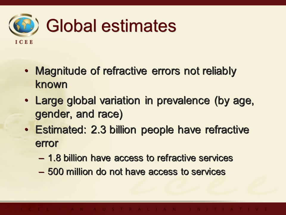Global estimates Magnitude of refractive errors not reliably known Large global variation in prevalence (by age, gender, and race) Estimated: 2.3 billion people have refractive error –1.8 billion have access to refractive services –500 million do not have access to services Magnitude of refractive errors not reliably known Large global variation in prevalence (by age, gender, and race) Estimated: 2.3 billion people have refractive error –1.8 billion have access to refractive services –500 million do not have access to services