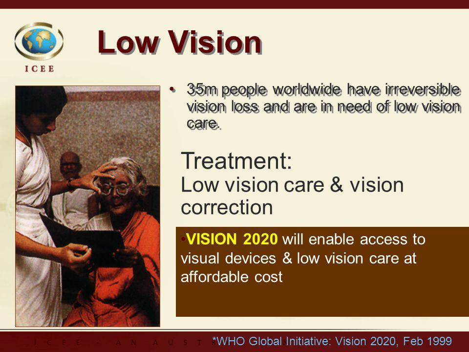 Low Vision 35m people worldwide have irreversible vision loss and are in need of low vision care.