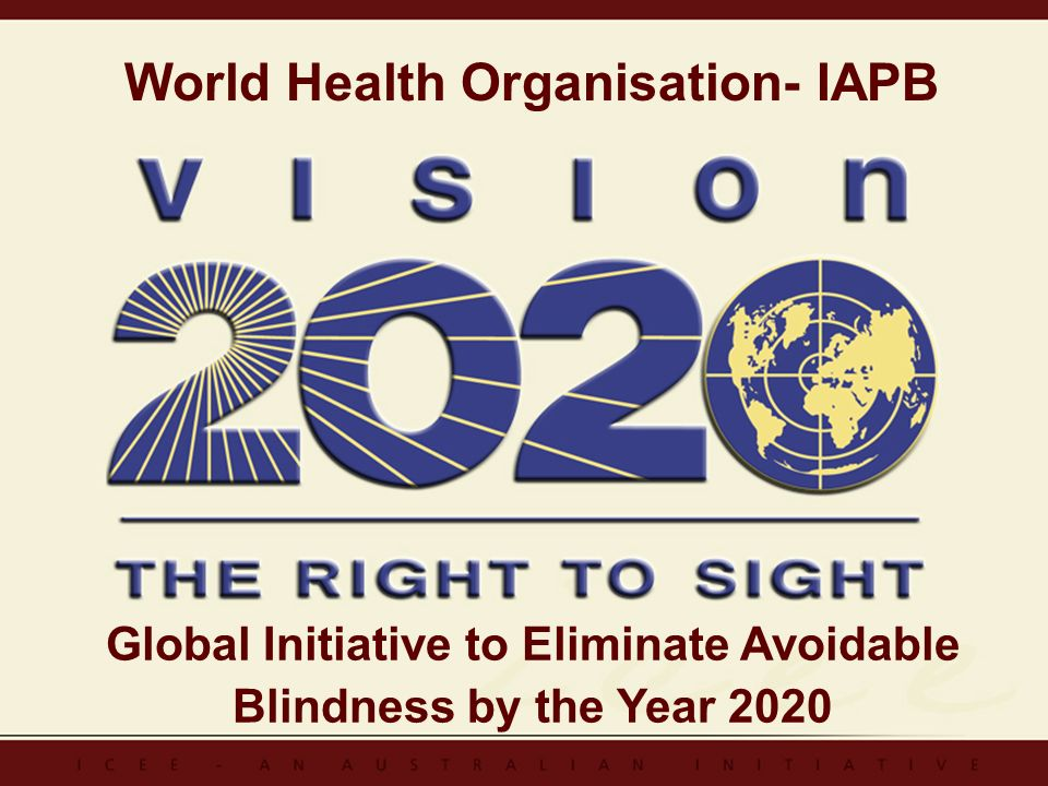 Global Initiative to Eliminate Avoidable Blindness by the Year 2020 World Health Organisation- IAPB