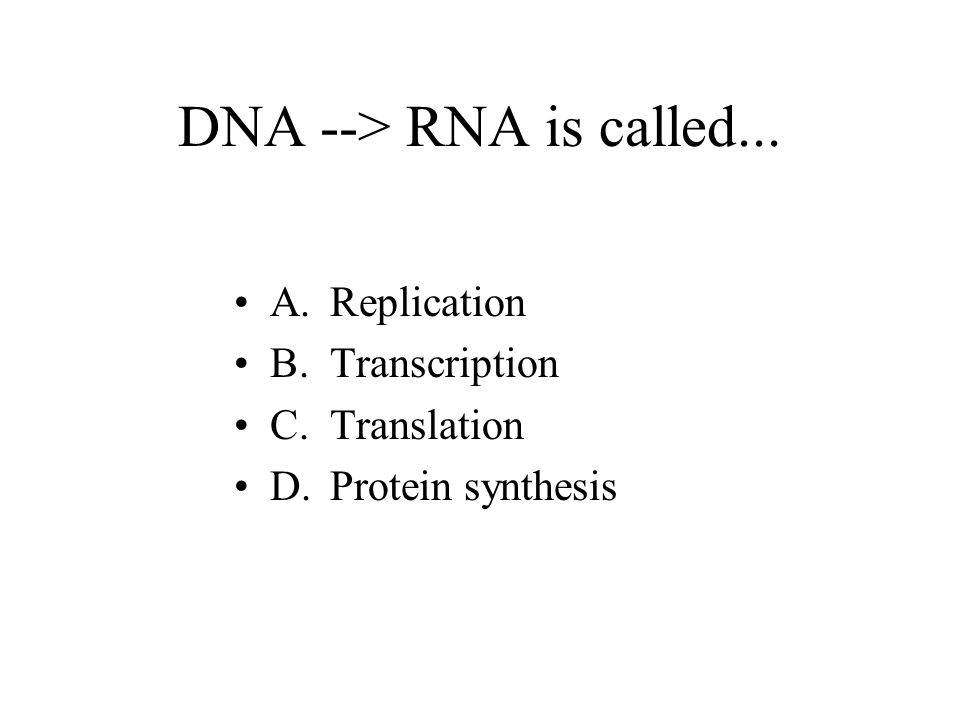DNA to RNA then RNA becomes proteins Protein synthesis, all controlled by the genes