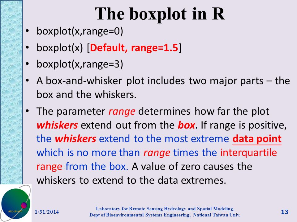 The boxplot in R boxplot(x,range=0) boxplot(x) [Default, range=1.5] boxplot(x,range=3) A box-and-whisker plot includes two major parts – the box and the whiskers.