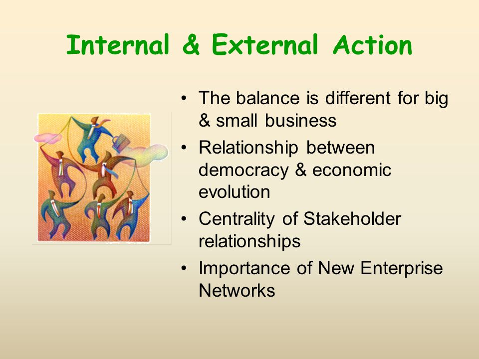 Internal & External Action The balance is different for big & small business Relationship between democracy & economic evolution Centrality of Stakeholder relationships Importance of New Enterprise Networks
