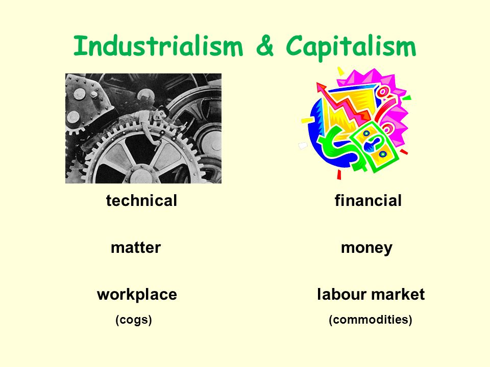 Industrialism & Capitalism technical financial matter money workplace labour market (cogs) (commodities)