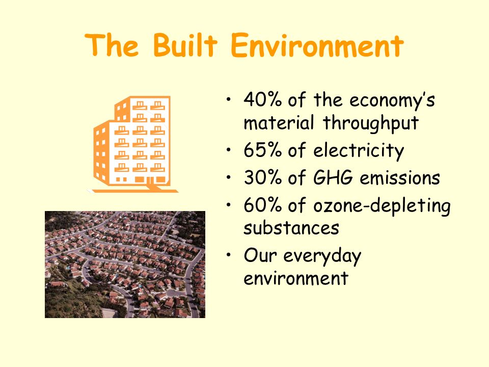 The Built Environment 40% of the economys material throughput 65% of electricity 30% of GHG emissions 60% of ozone-depleting substances Our everyday environment
