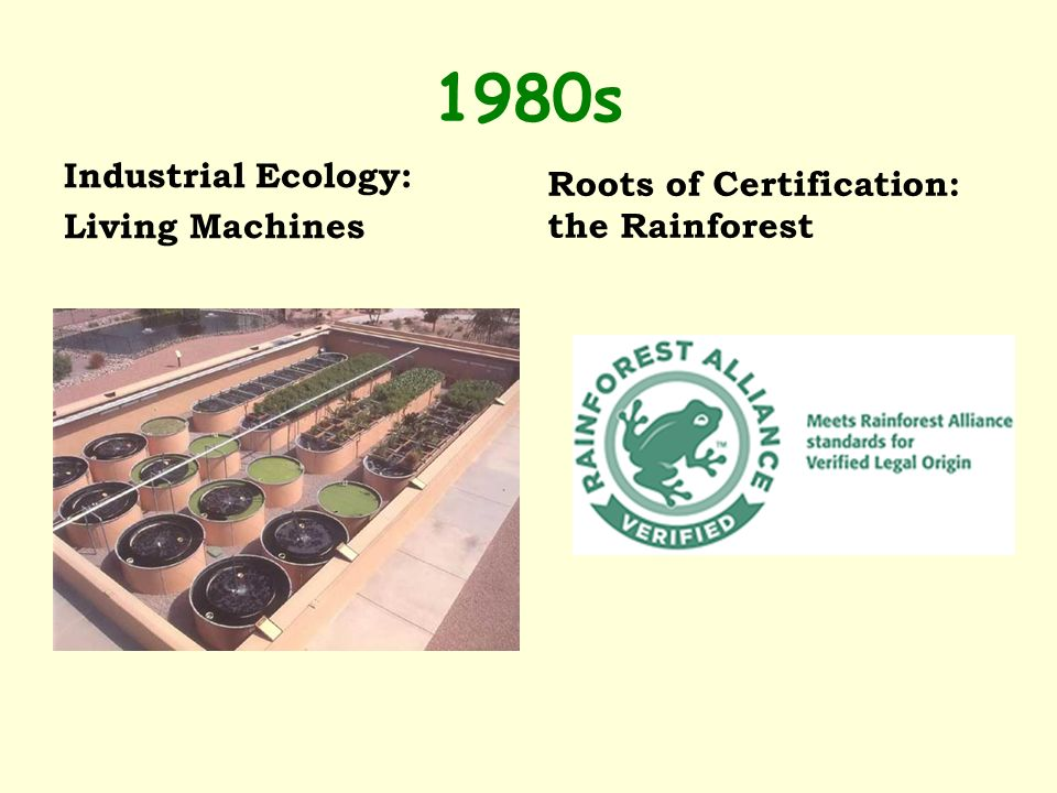 1980s Industrial Ecology: Living Machines Roots of Certification: the Rainforest