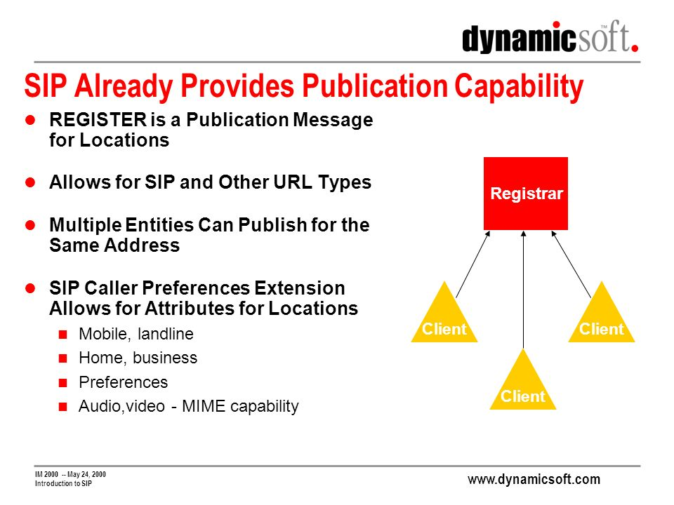 www.dynamicsoft.com IM 2000 -- May 24, 2000 Introduction to SIP SIP Already Provides Publication Capability REGISTER is a Publication Message for Locations Allows for SIP and Other URL Types Multiple Entities Can Publish for the Same Address SIP Caller Preferences Extension Allows for Attributes for Locations Mobile, landline Home, business Preferences Audio,video - MIME capability Registrar Client