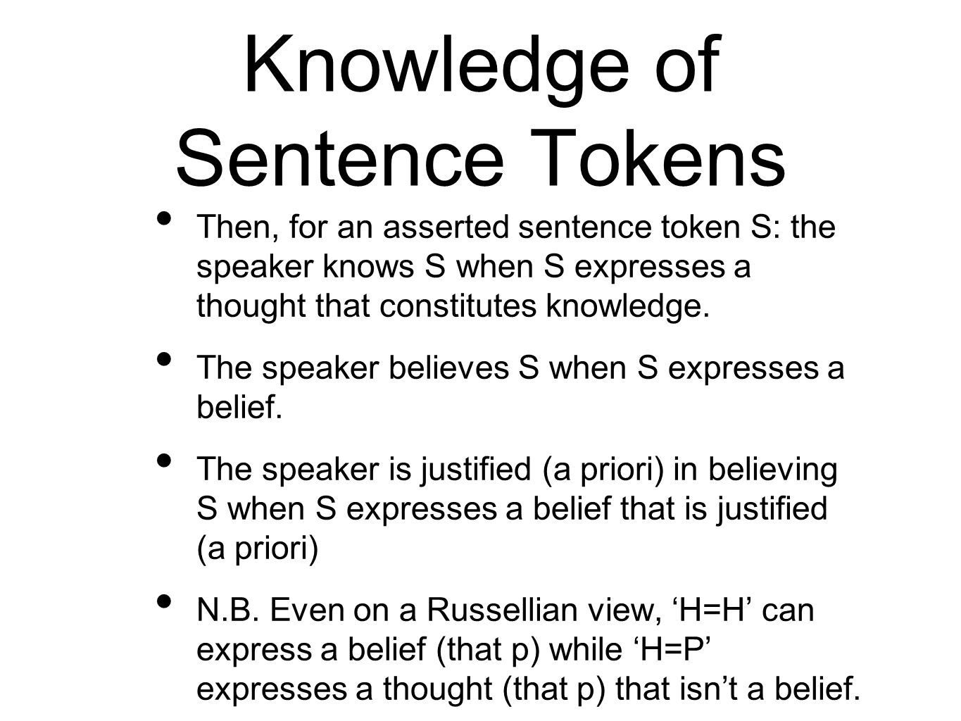 Knowledge of Sentence Tokens Then, for an asserted sentence token S: the speaker knows S when S expresses a thought that constitutes knowledge.