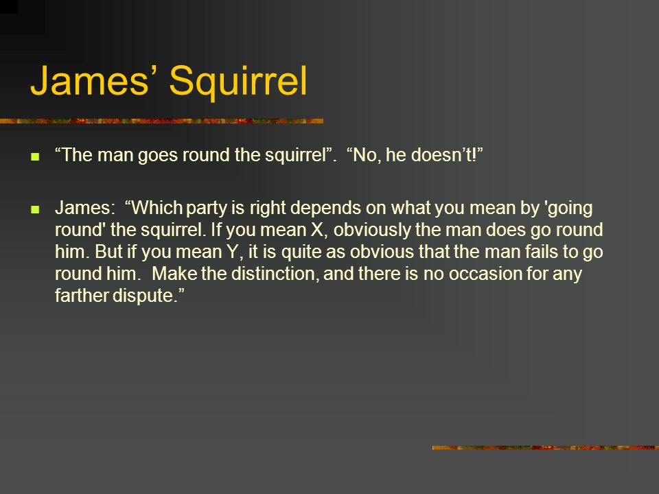 James Squirrel The man goes round the squirrel. No, he doesnt.