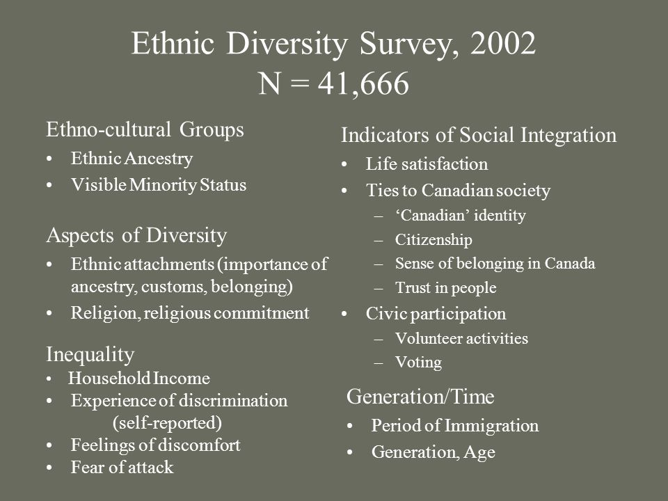 Ethnic Diversity Survey, 2002 N = 41,666 Indicators of Social Integration Life satisfaction Ties to Canadian society –Canadian identity –Citizenship –Sense of belonging in Canada –Trust in people Civic participation –Volunteer activities –Voting Ethno-cultural Groups Ethnic Ancestry Visible Minority Status Inequality Household Income Experience of discrimination (self-reported) Feelings of discomfort Fear of attack Aspects of Diversity Ethnic attachments (importance of ancestry, customs, belonging) Religion, religious commitment Generation/Time Period of Immigration Generation, Age