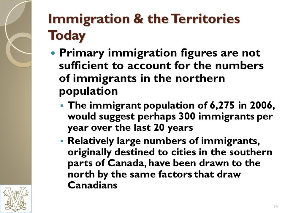 Immigration & the Territories Today Primary immigration figures are not sufficient to account for the numbers of immigrants in the northern population The immigrant population of 6,275 in 2006, would suggest perhaps 300 immigrants per year over the last 20 years Relatively large numbers of immigrants, originally destined to cities in the southern parts of Canada, have been drawn to the north by the same factors that draw Canadians 14