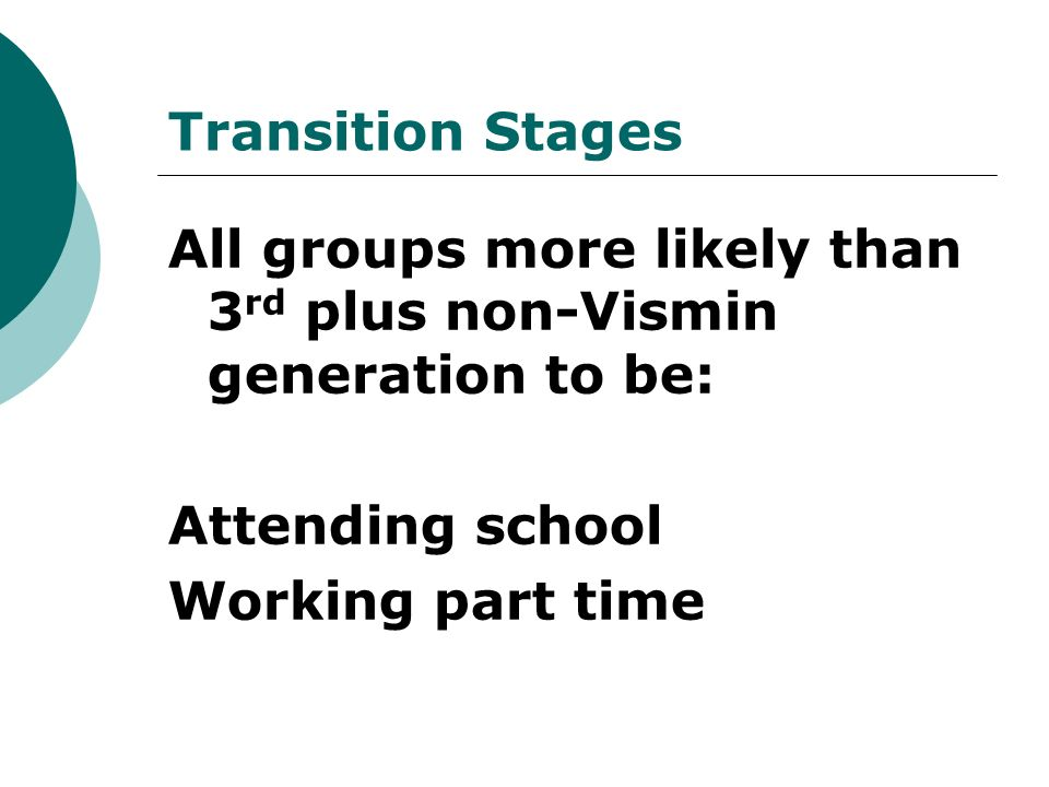 Transition Stages All groups more likely than 3 rd plus non-Vismin generation to be: Attending school Working part time