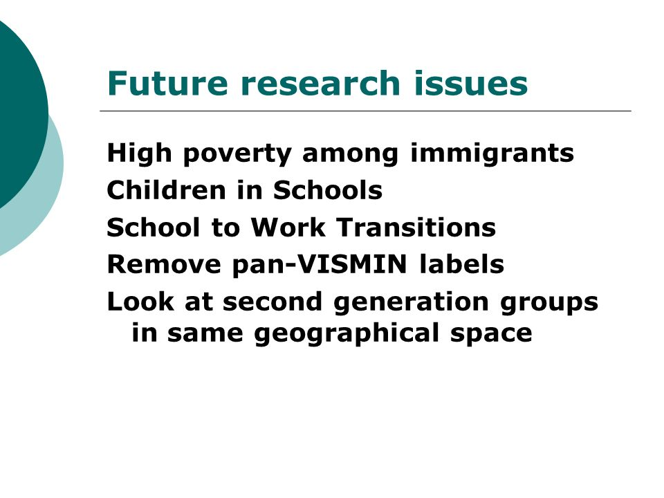 Future research issues High poverty among immigrants Children in Schools School to Work Transitions Remove pan-VISMIN labels Look at second generation groups in same geographical space