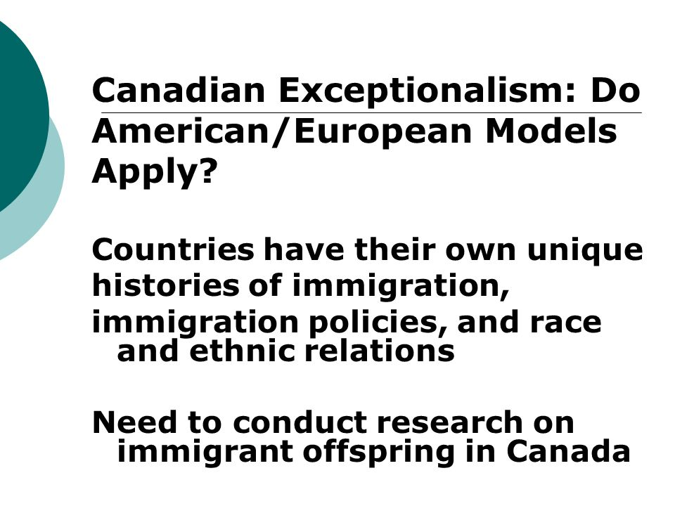 Canadian Exceptionalism: Do American/European Models Apply.