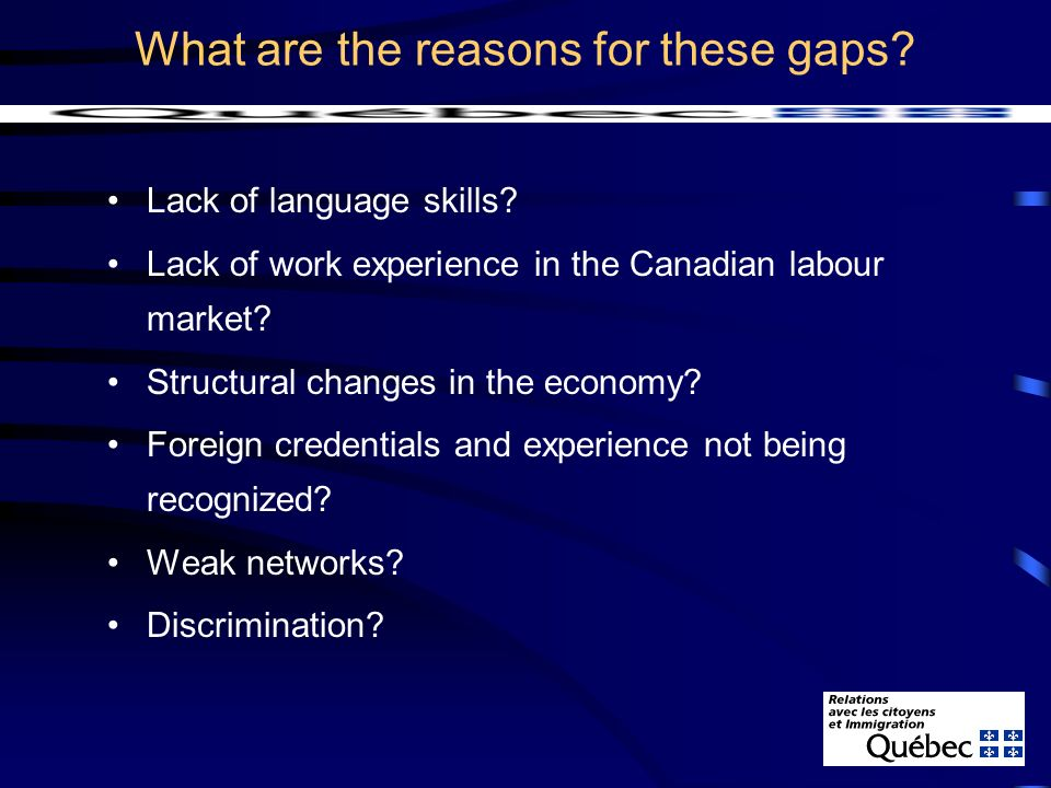 What are the reasons for these gaps. Lack of language skills.