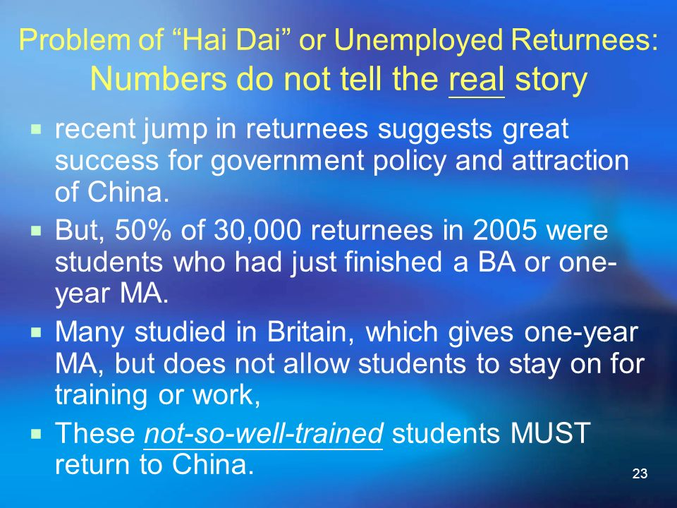 23 Problem of Hai Dai or Unemployed Returnees: Numbers do not tell the real story recent jump in returnees suggests great success for government policy and attraction of China.