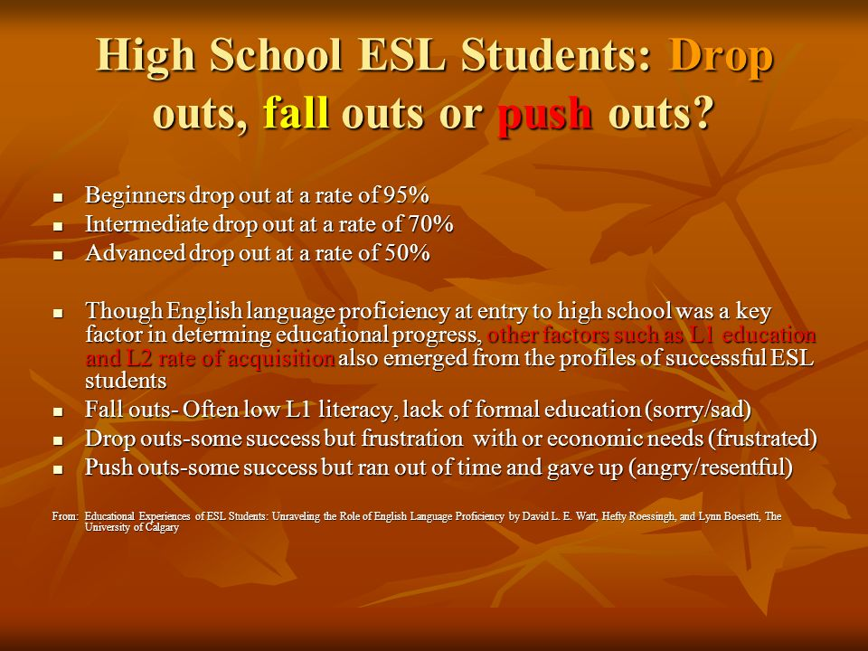 High School ESL Students: Drop outs, fall outs or push outs.