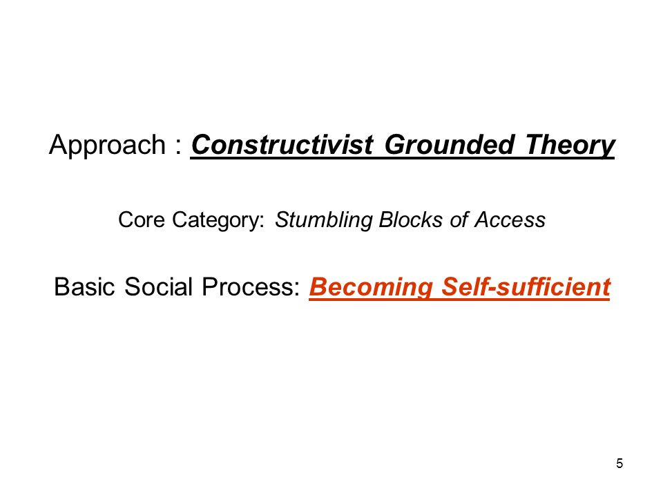 5 Approach : Constructivist Grounded Theory Core Category: Stumbling Blocks of Access Basic Social Process: Becoming Self-sufficient