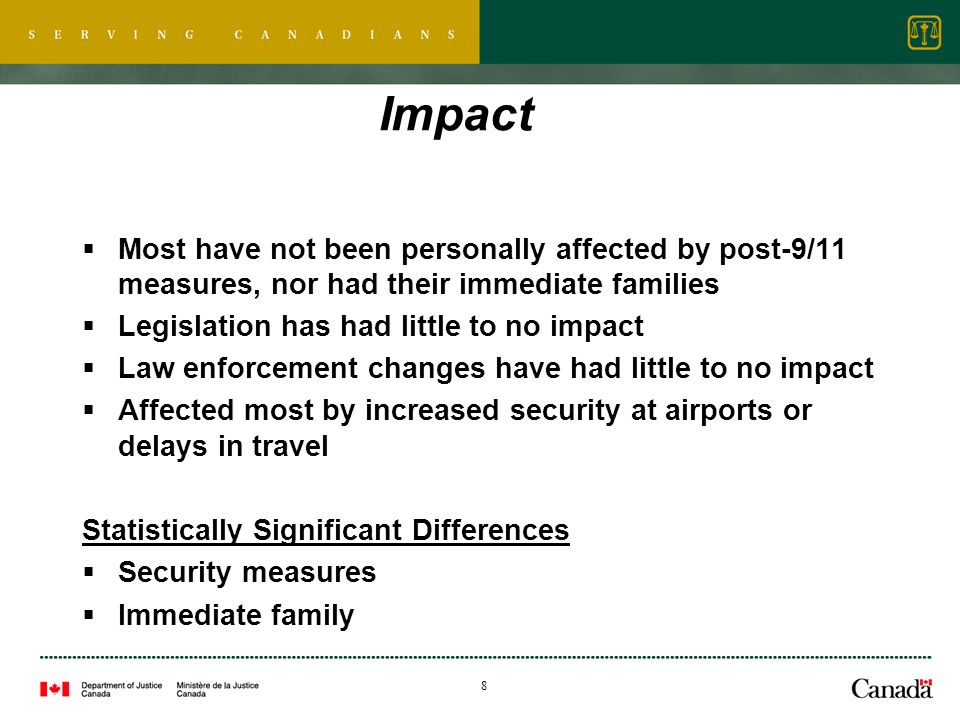 8 Impact Most have not been personally affected by post-9/11 measures, nor had their immediate families Legislation has had little to no impact Law enforcement changes have had little to no impact Affected most by increased security at airports or delays in travel Statistically Significant Differences Security measures Immediate family