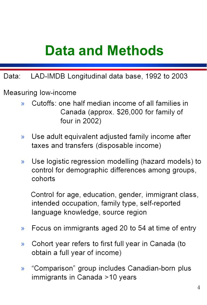 4 Data and Methods Data:LAD-IMDB Longitudinal data base, 1992 to 2003 Measuring low-income »Cutoffs: one half median income of all families in Canada (approx.
