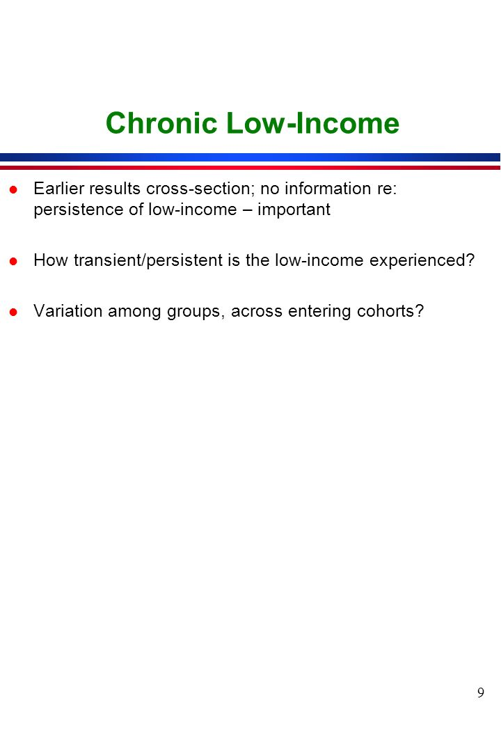 9 Chronic Low-Income l Earlier results cross-section; no information re: persistence of low-income – important l How transient/persistent is the low-income experienced.