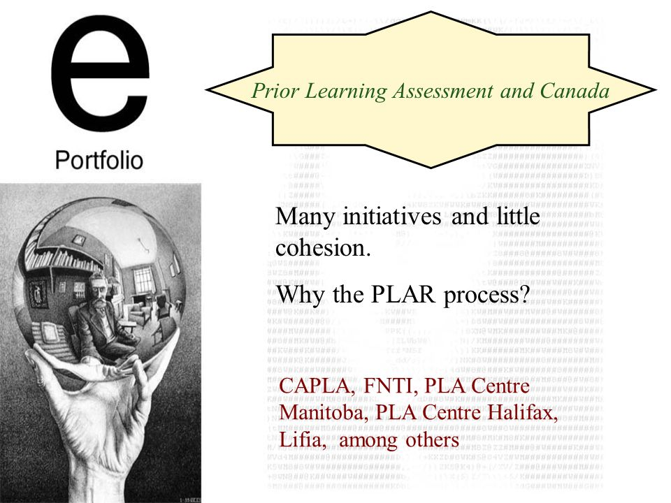 Prior Learning Assessment and Canada Many initiatives and little cohesion.