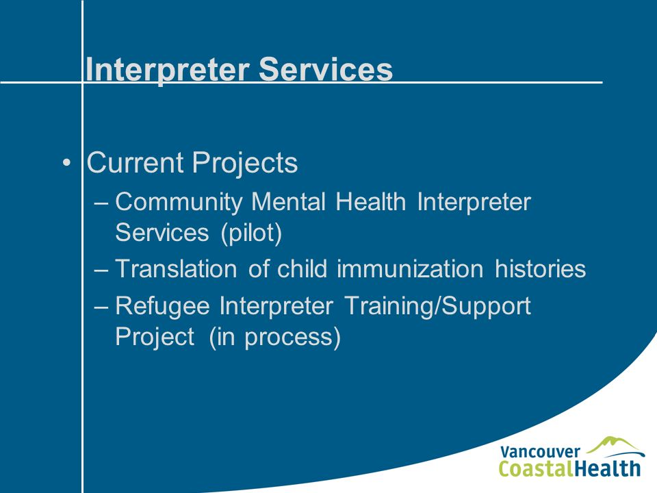Interpreter Services Current Projects –Community Mental Health Interpreter Services (pilot) –Translation of child immunization histories –Refugee Interpreter Training/Support Project (in process)