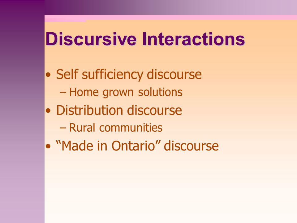 Discursive Interactions Self sufficiency discourse –Home grown solutions Distribution discourse –Rural communities Made in Ontario discourse