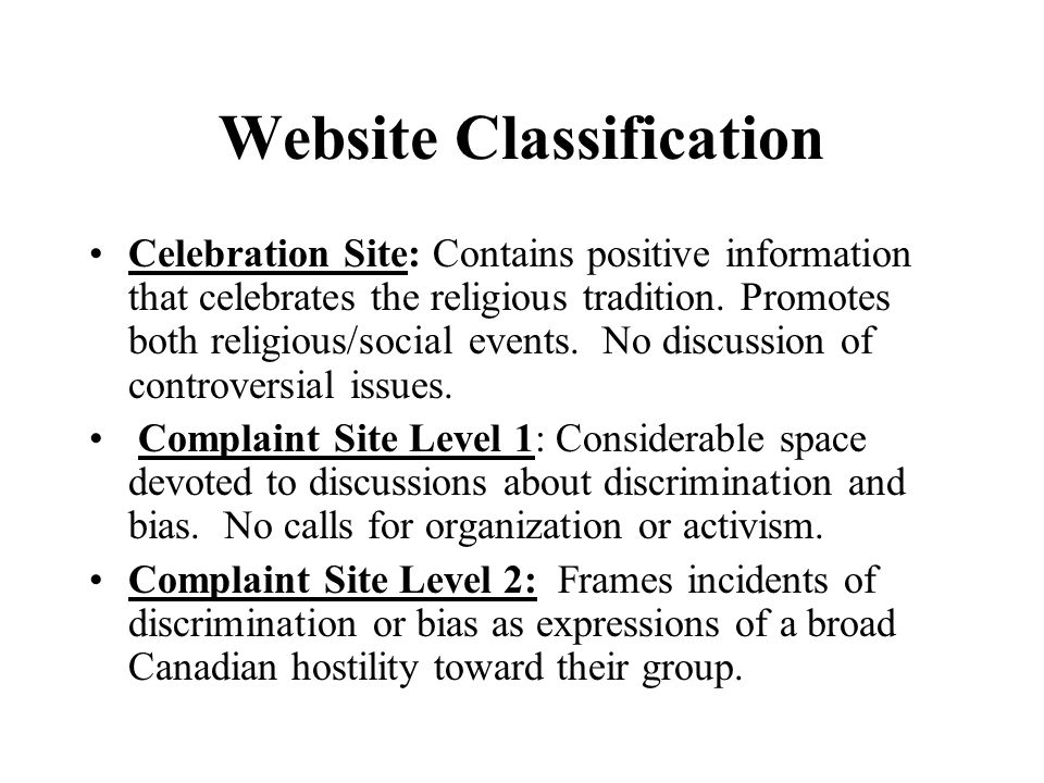 Website Classification Celebration Site: Contains positive information that celebrates the religious tradition.