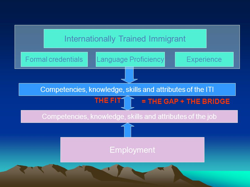 Internationally Trained Immigrant Formal credentialsLanguage ProficiencyExperience Employment Competencies, knowledge, skills and attributes of the ITI Competencies, knowledge, skills and attributes of the job = THE GAP + THE BRIDGE THE FIT