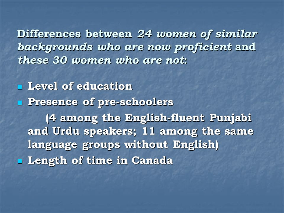 Differences between 24 women of similar backgrounds who are now proficient and these 30 women who are not : Level of education Level of education Presence of pre-schoolers Presence of pre-schoolers (4 among the English-fluent Punjabi and Urdu speakers; 11 among the same language groups without English) Length of time in Canada Length of time in Canada