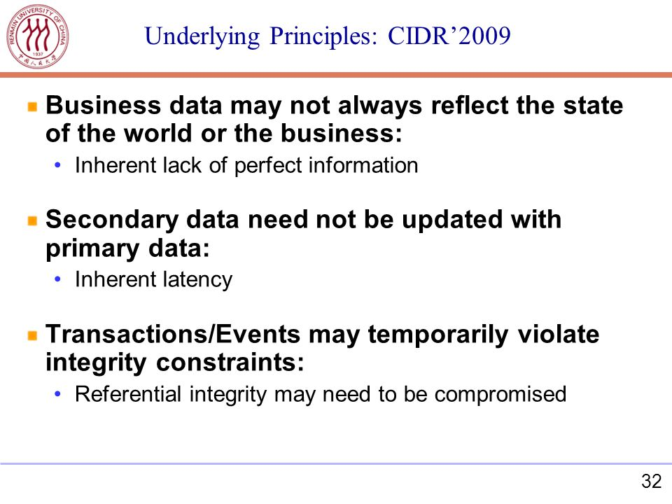 32 Underlying Principles: CIDR2009 Business data may not always reflect the state of the world or the business: Inherent lack of perfect information Secondary data need not be updated with primary data: Inherent latency Transactions/Events may temporarily violate integrity constraints: Referential integrity may need to be compromised