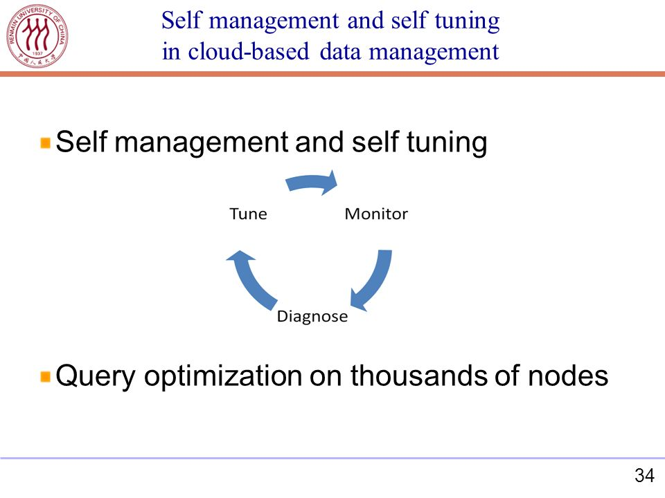 34 Self management and self tuning in cloud-based data management Self management and self tuning Query optimization on thousands of nodes