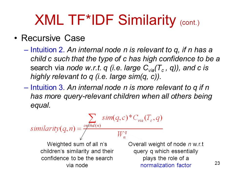 XML TF*IDF Similarity (cont.) Recursive Case –Intuition 2.