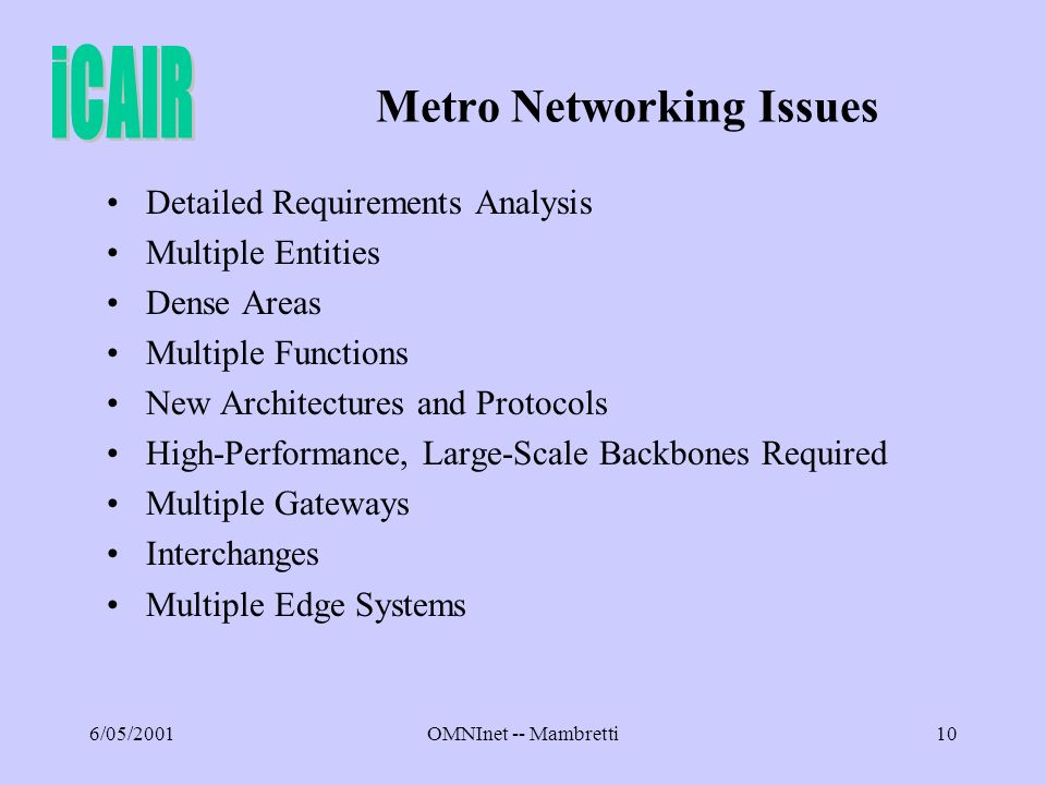 6/05/2001OMNInet -- Mambretti10 Metro Networking Issues Detailed Requirements Analysis Multiple Entities Dense Areas Multiple Functions New Architectures and Protocols High-Performance, Large-Scale Backbones Required Multiple Gateways Interchanges Multiple Edge Systems