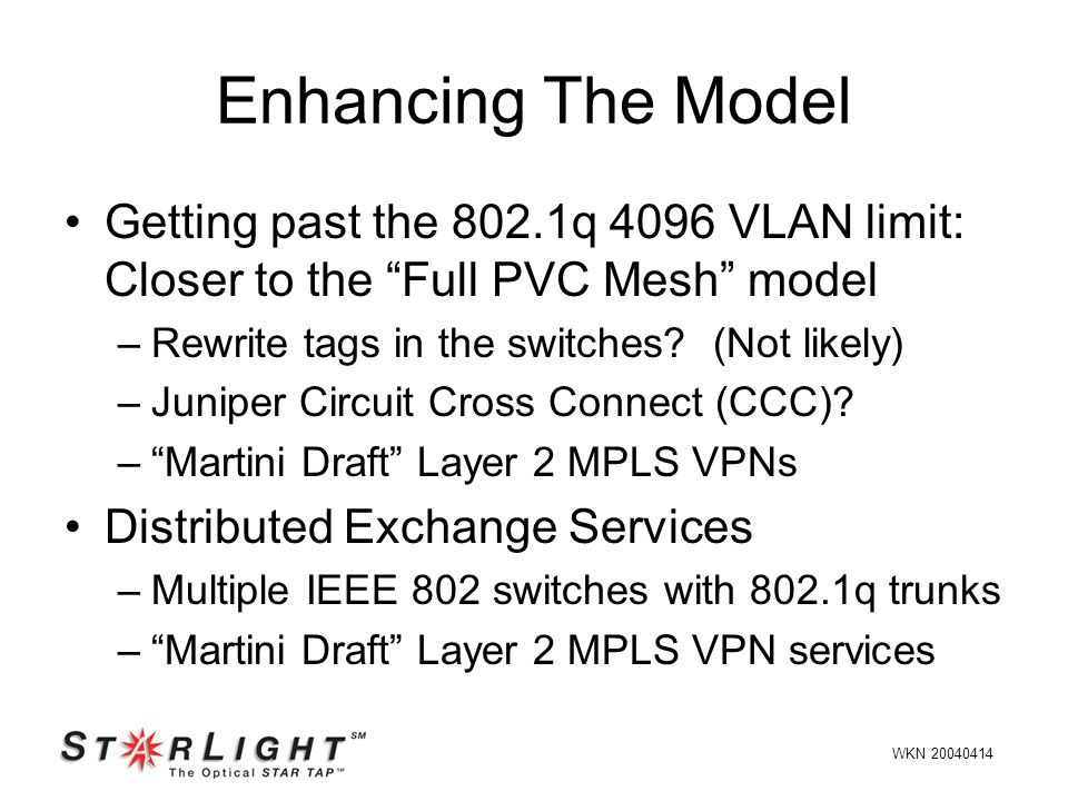 Getting past the 802.1q 4096 VLAN limit: Closer to the Full PVC Mesh model –Rewrite tags in the switches.