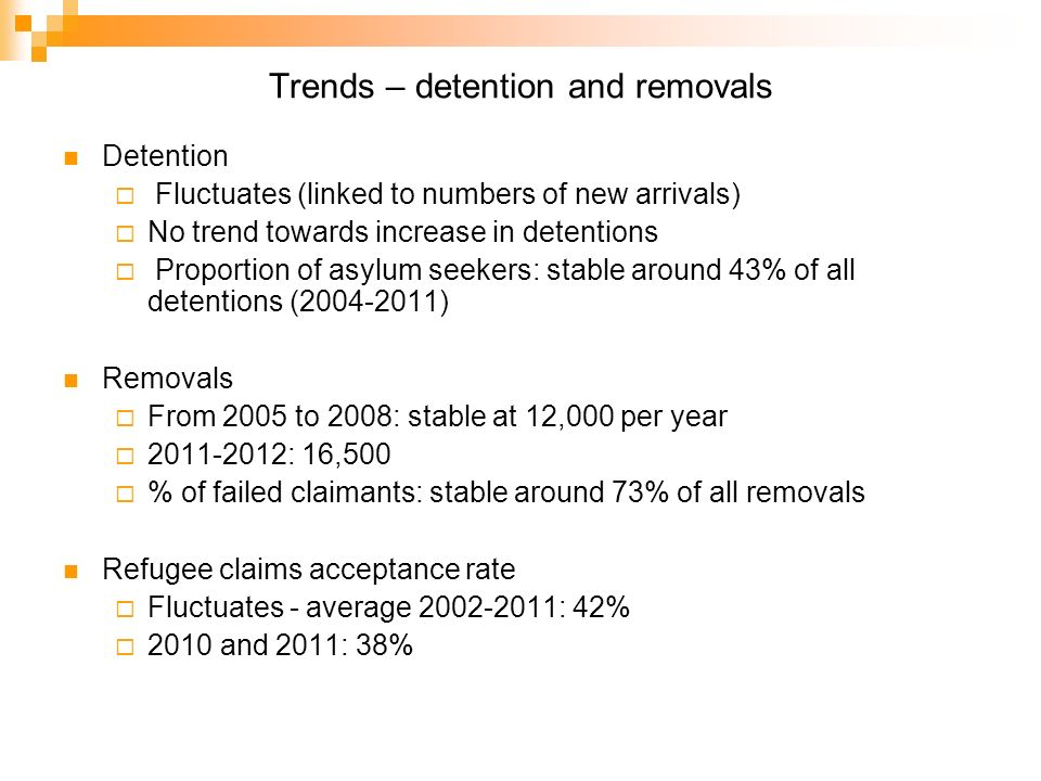 Trends – detention and removals Detention Fluctuates (linked to numbers of new arrivals) No trend towards increase in detentions Proportion of asylum seekers: stable around 43% of all detentions (2004-2011) Removals From 2005 to 2008: stable at 12,000 per year 2011-2012: 16,500 % of failed claimants: stable around 73% of all removals Refugee claims acceptance rate Fluctuates - average 2002-2011: 42% 2010 and 2011: 38%